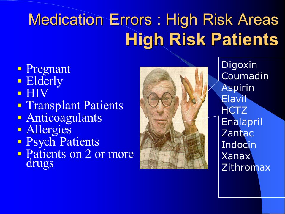 Medication Errors : High Risk Areas High Risk Patients