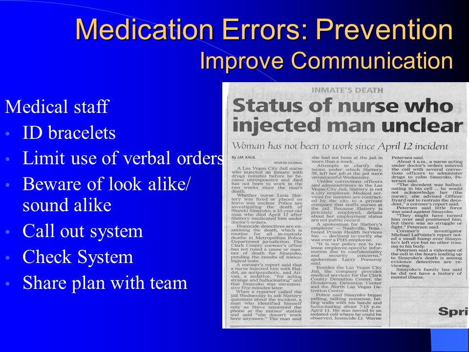 Medication Errors: Prevention Improve Communication