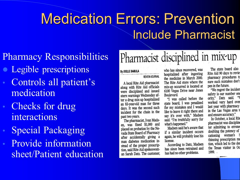 Medication Errors: Prevention Include Pharmacist