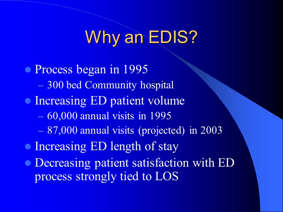 Why an EDIS Process began in 1995 Increasing ED patient volume