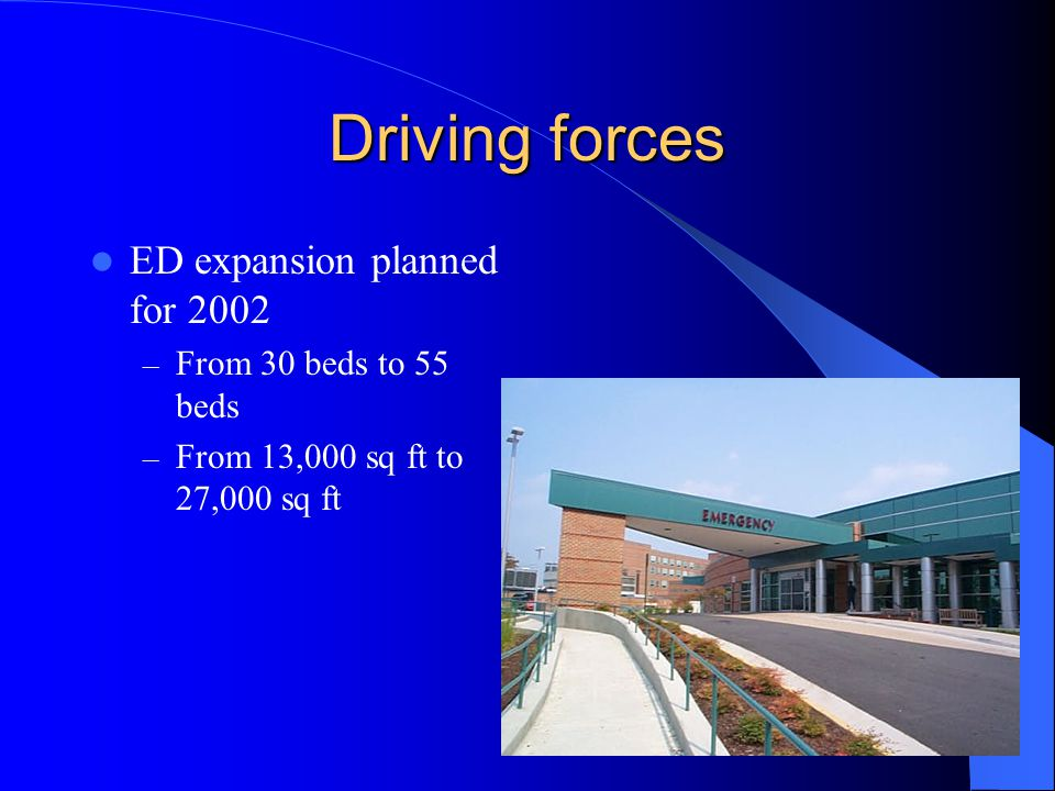 Driving forces ED expansion planned for 2002 From 30 beds to 55 beds
