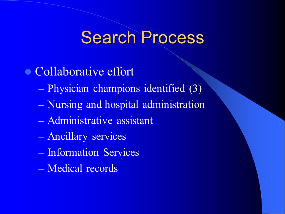Search Process Collaborative effort Physician champions identified (3)