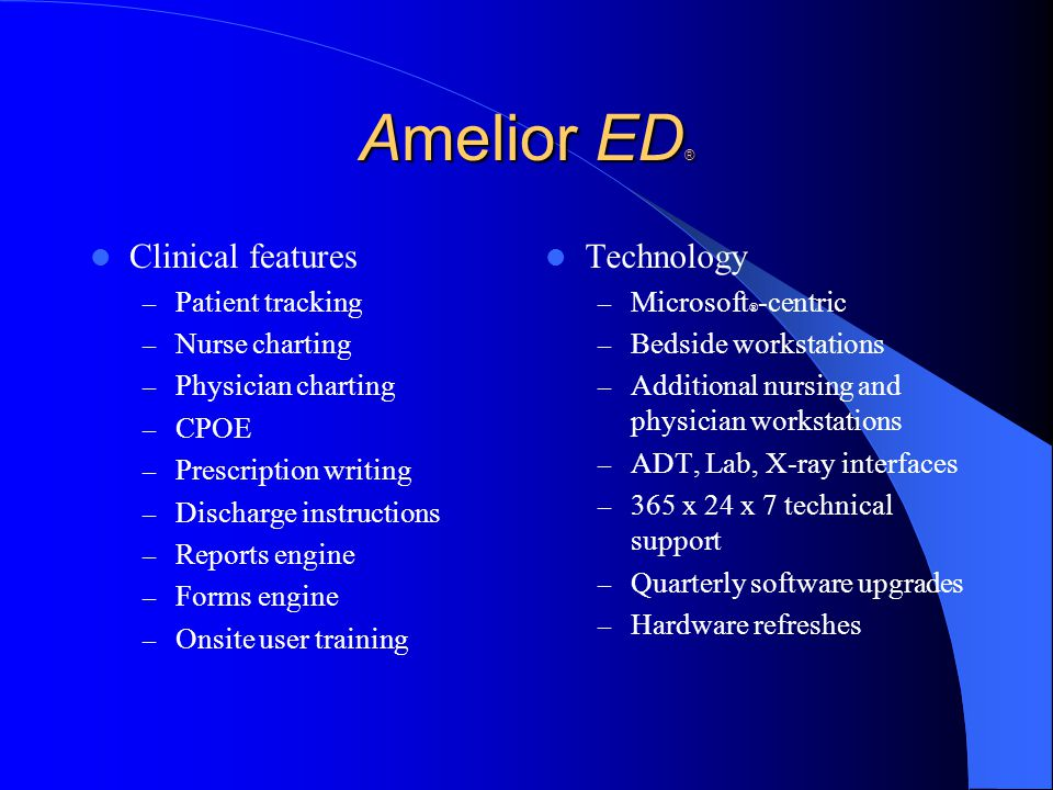 Amelior ED® Clinical features Technology Patient tracking