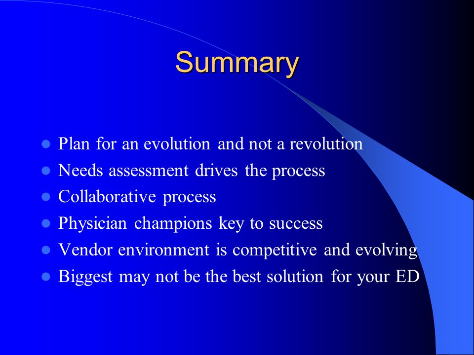Summary Plan for an evolution and not a revolution