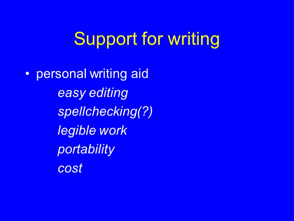 Support for writing personal writing aid easy editing spellchecking( )