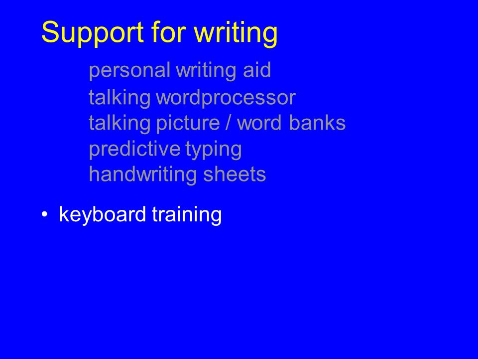 Support for writing. personal writing aid. talking wordprocessor
