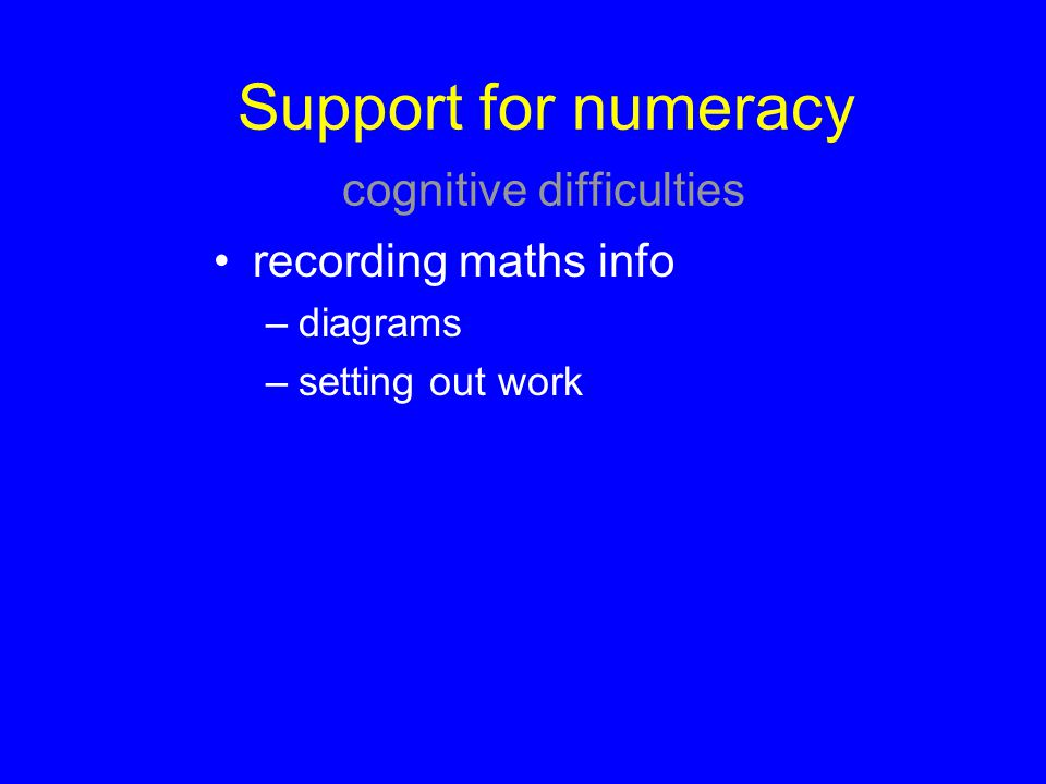 Support for numeracy cognitive difficulties
