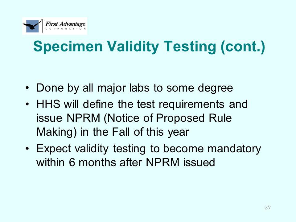 Specimen Validity Testing (cont.)