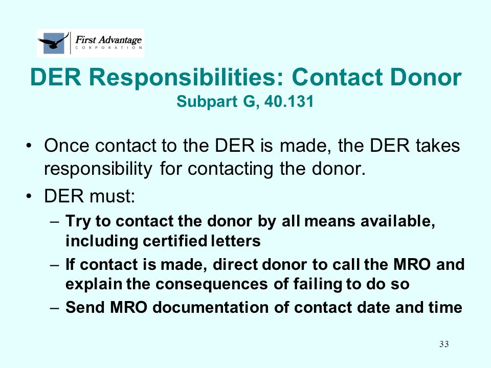 DER Responsibilities: Contact Donor Subpart G, 40.131