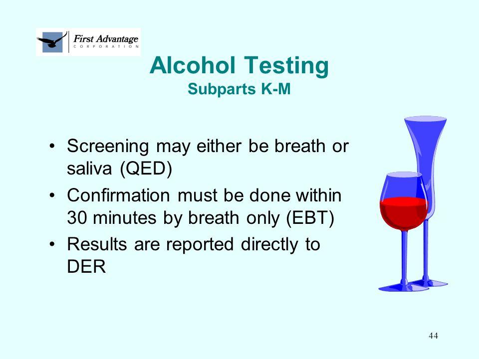 Alcohol Testing Subparts K-M