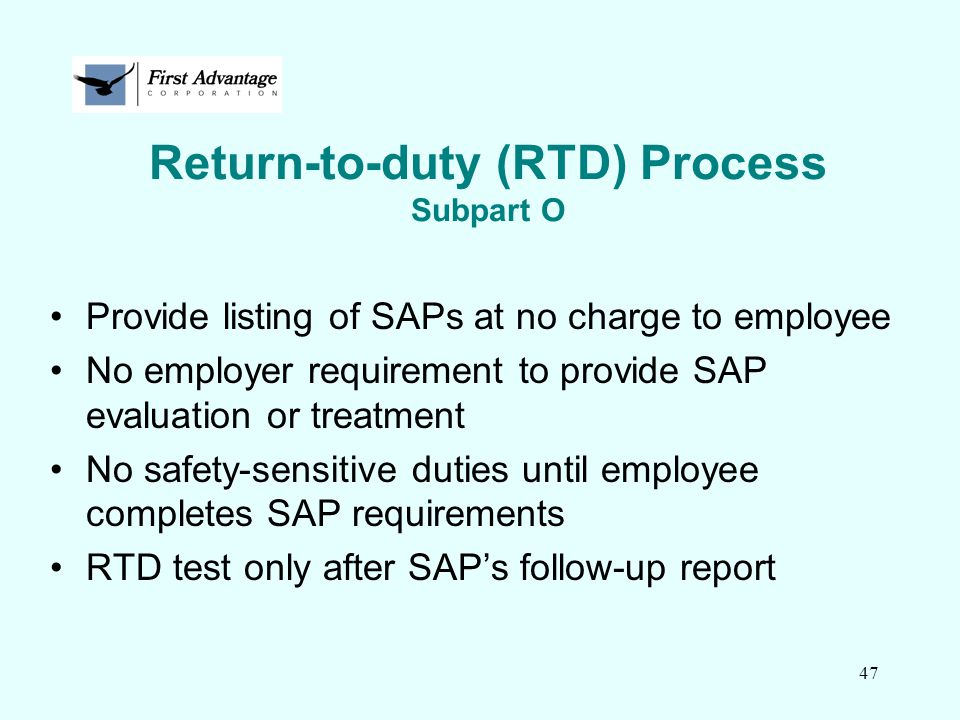 Return-to-duty (RTD) Process Subpart O