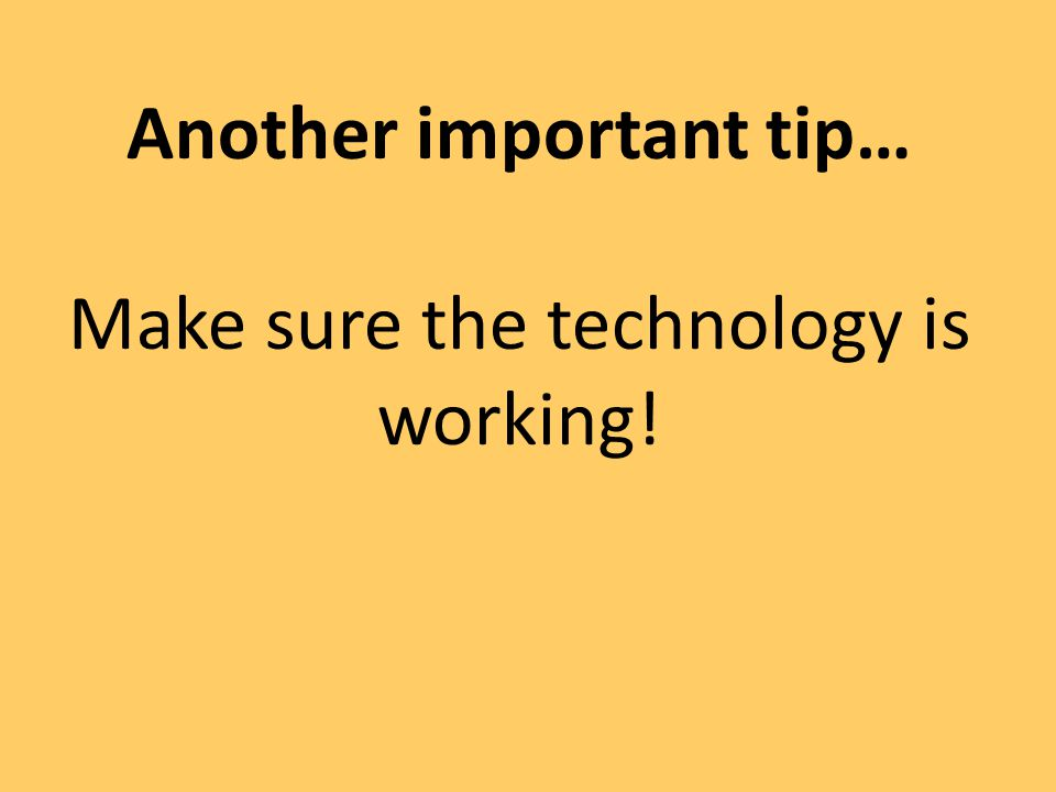 Another important tip…