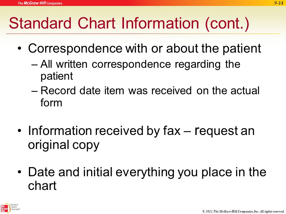 Standard Chart Information (cont.)