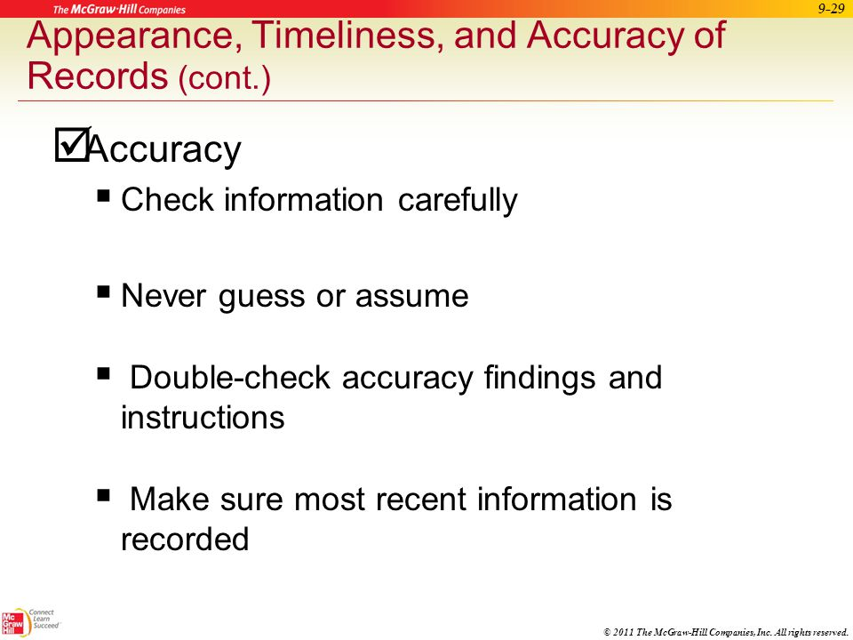 Appearance, Timeliness, and Accuracy of Records (cont.)