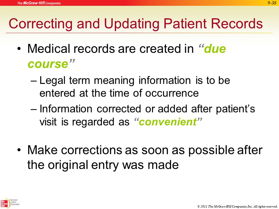 Correcting and Updating Patient Records