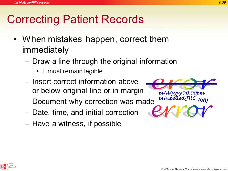 Correcting Patient Records