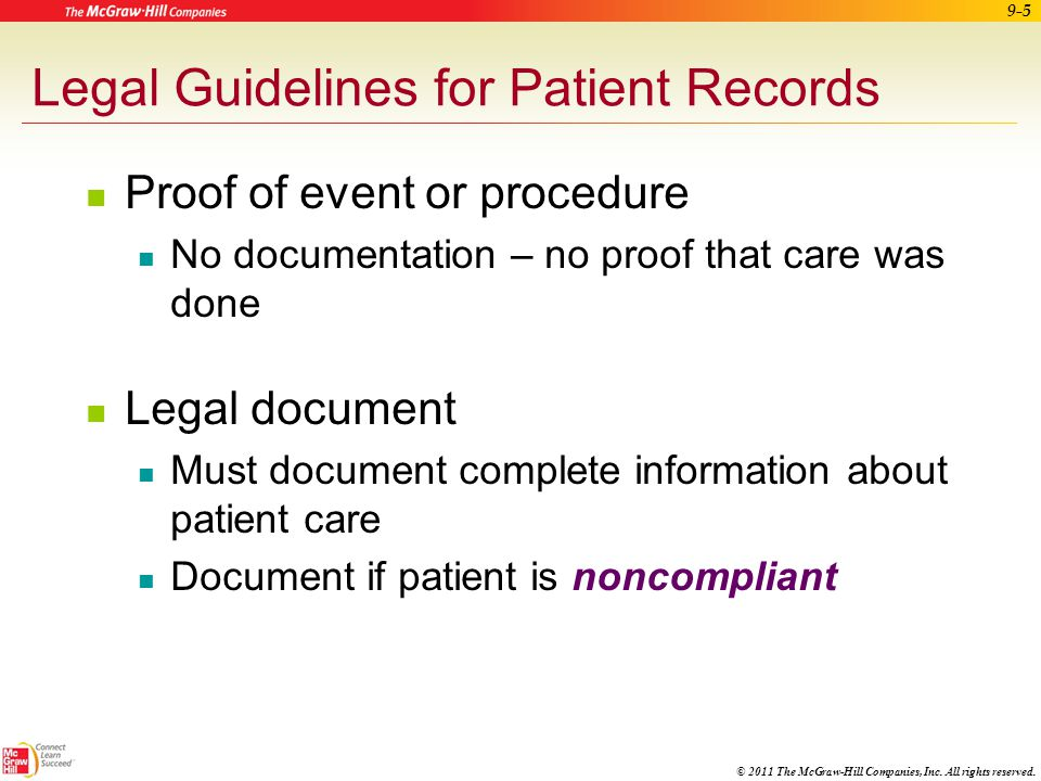 Legal Guidelines for Patient Records