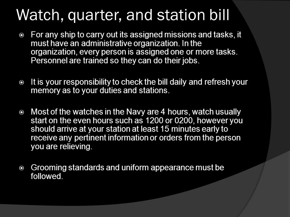 Watch, quarter, and station bill