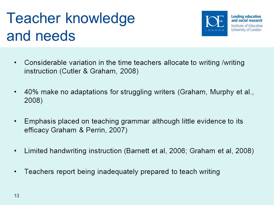 Teacher knowledge and needs
