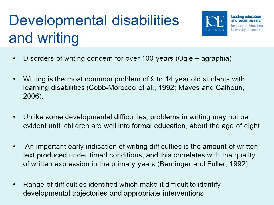 Developmental disabilities and writing
