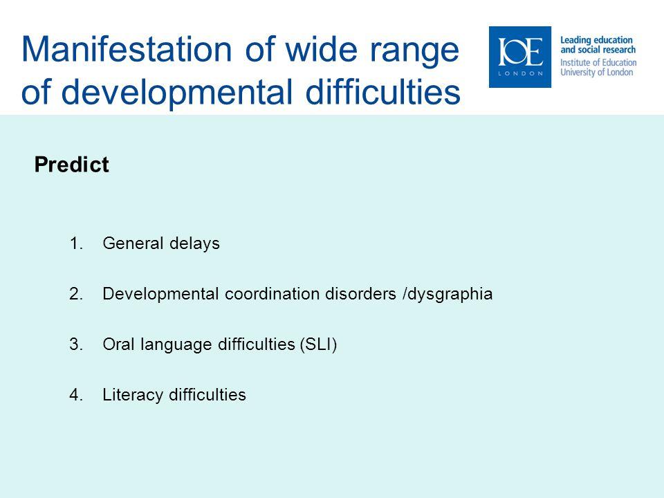 Manifestation of wide range of developmental difficulties