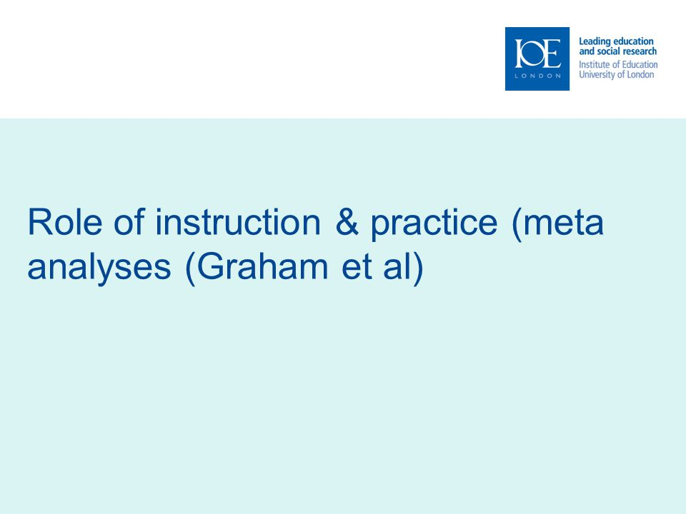 Role of instruction & practice (meta analyses (Graham et al)