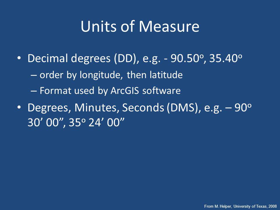 Units of Measure Decimal degrees (DD), e.g. - 90.50o, 35.40o