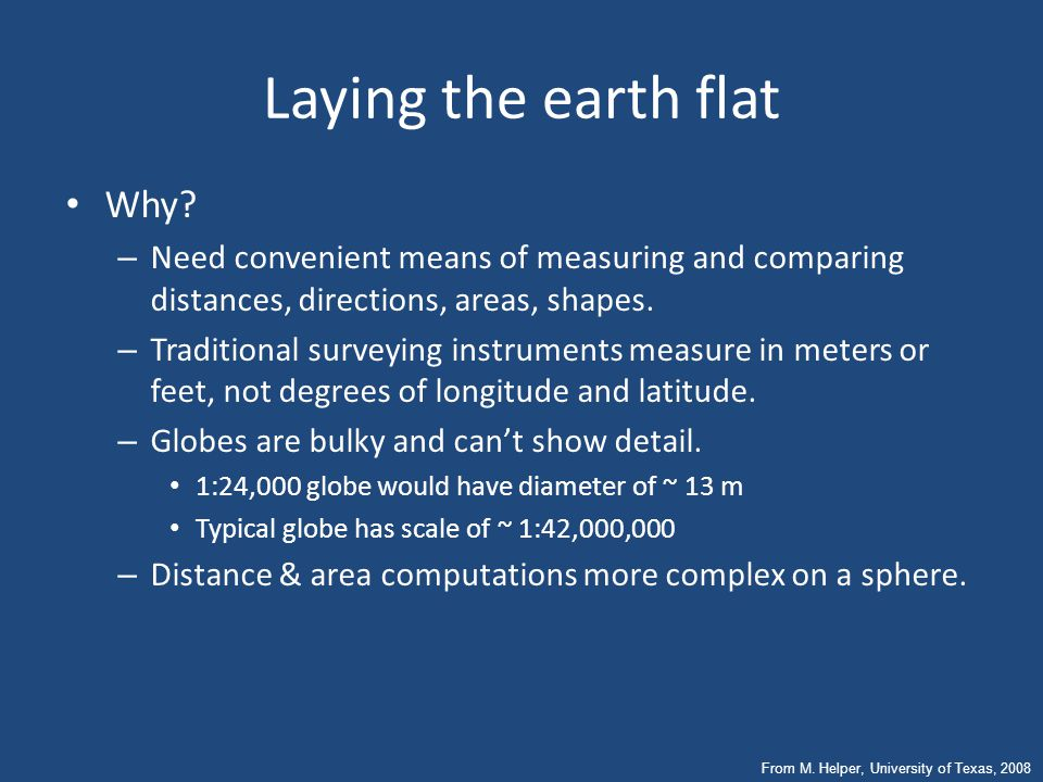 Laying the earth flat Why