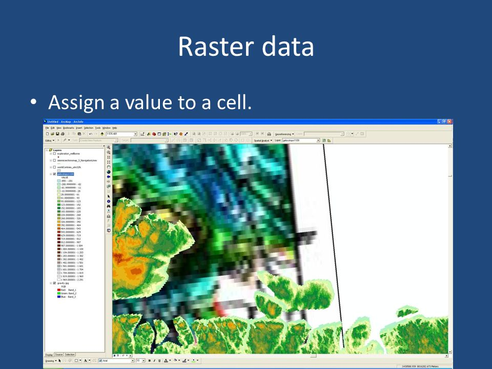 Raster data Assign a value to a cell.