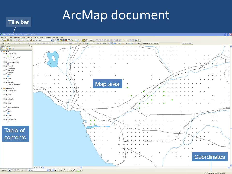 ArcMap document Title bar Map area Table of contents Coordinates