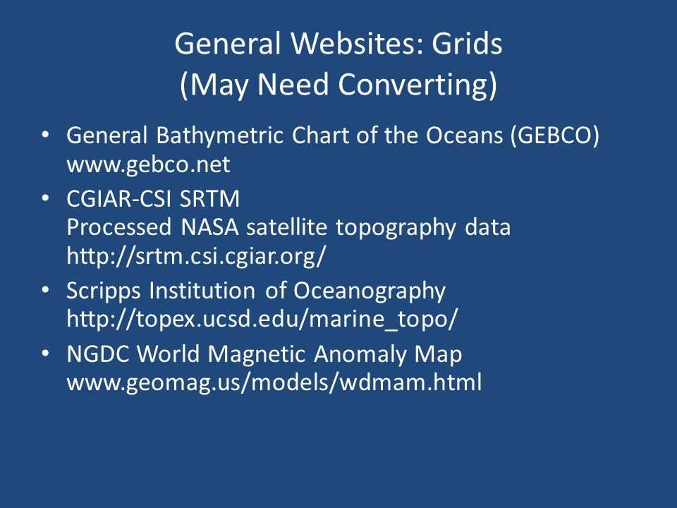 General Websites: Grids (May Need Converting)