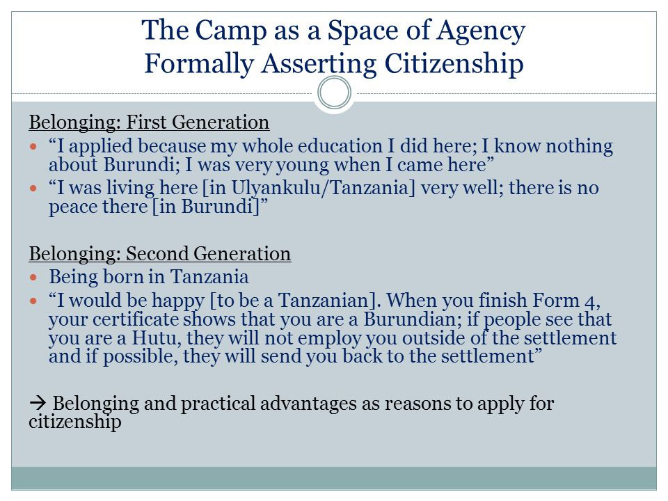 The Camp as a Space of Agency Formally Asserting Citizenship