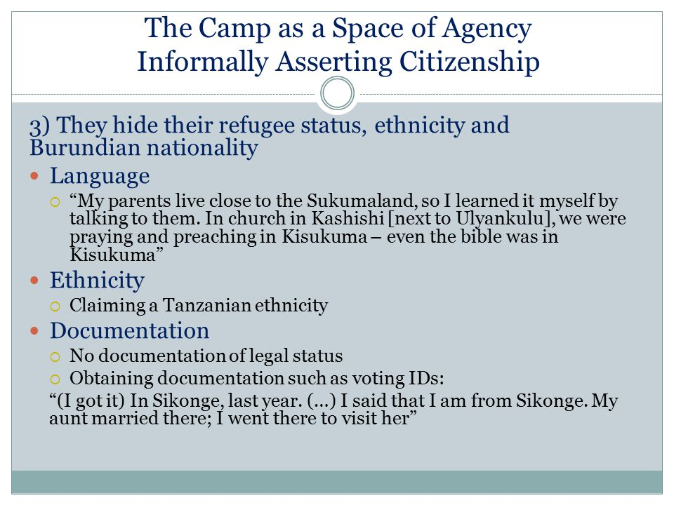 The Camp as a Space of Agency Informally Asserting Citizenship