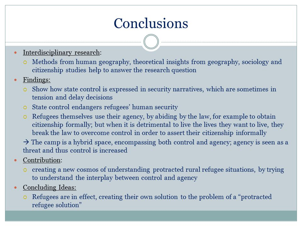 Conclusions Interdisciplinary research: