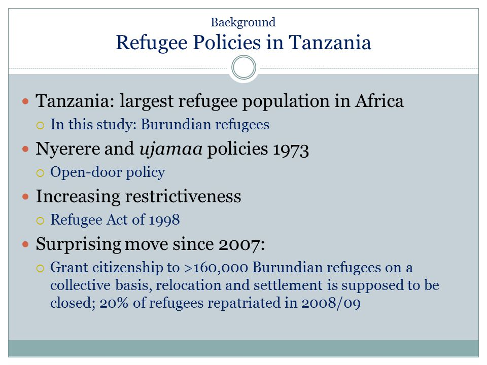 Background Refugee Policies in Tanzania