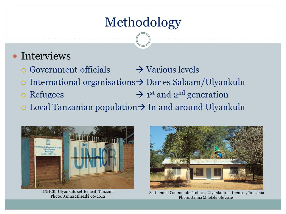 Methodology Interviews Government officials  Various levels