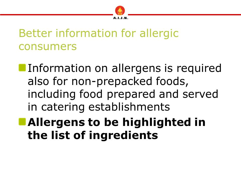 Better information for allergic consumers