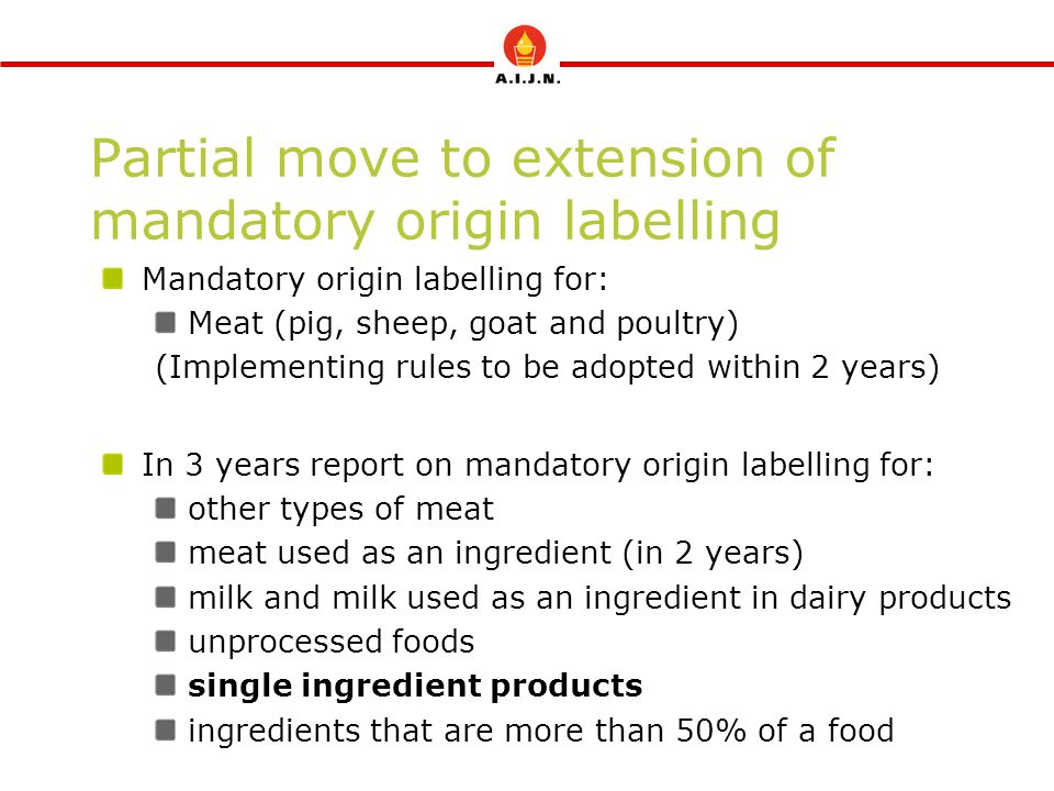 Partial move to extension of mandatory origin labelling