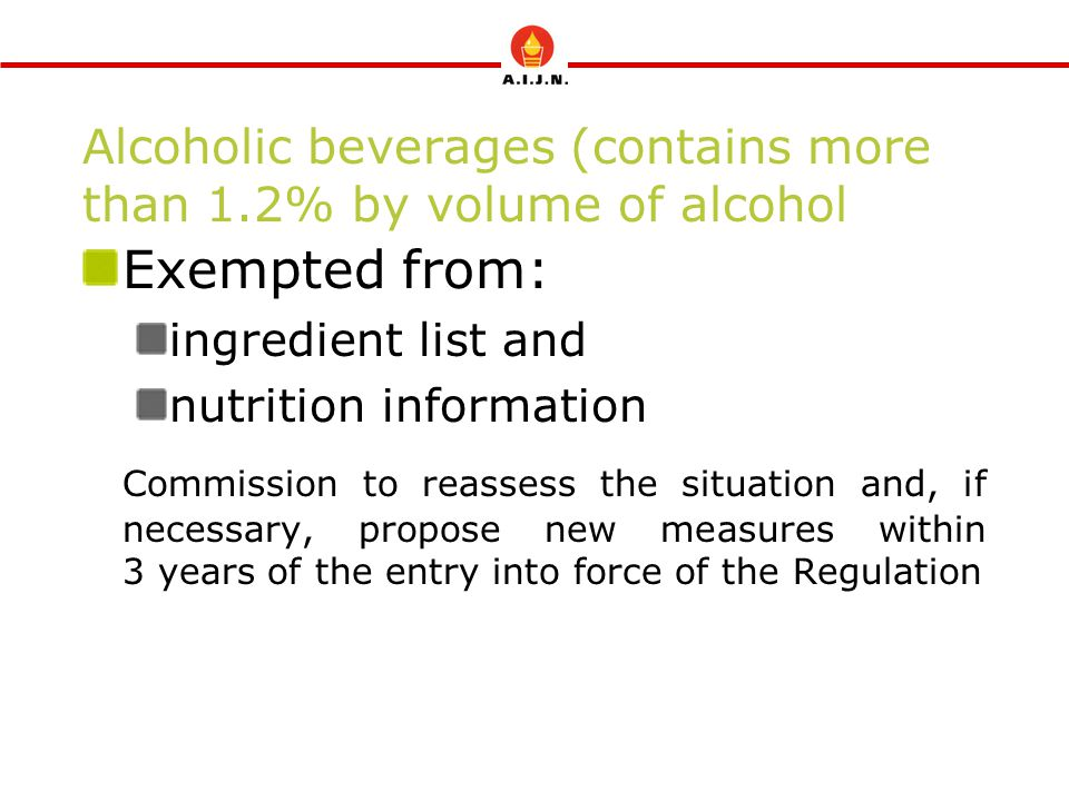 Alcoholic beverages (contains more than 1.2% by volume of alcohol