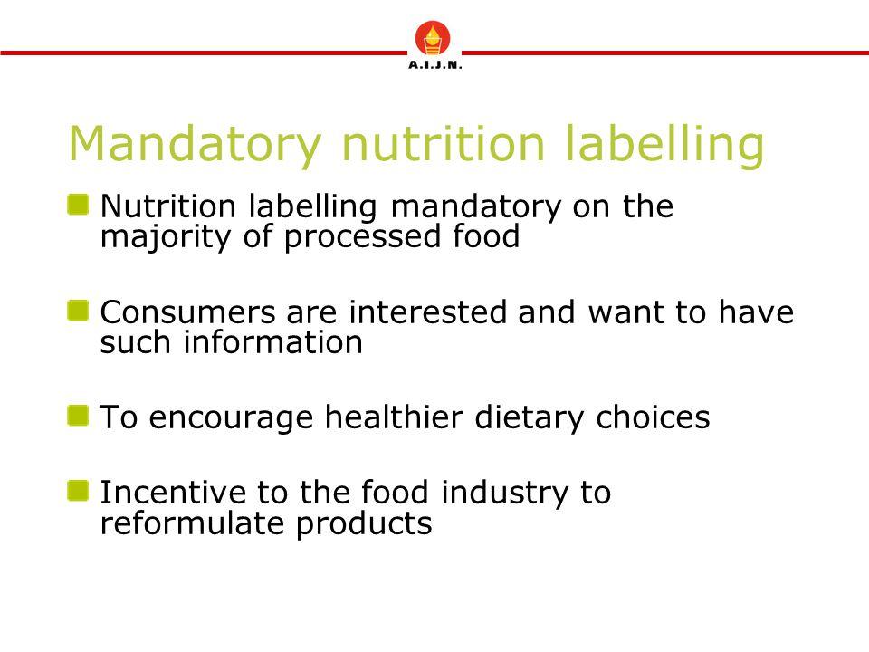 Mandatory nutrition labelling