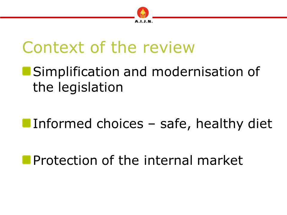 Context of the review Simplification and modernisation of the legislation. Informed choices – safe, healthy diet.