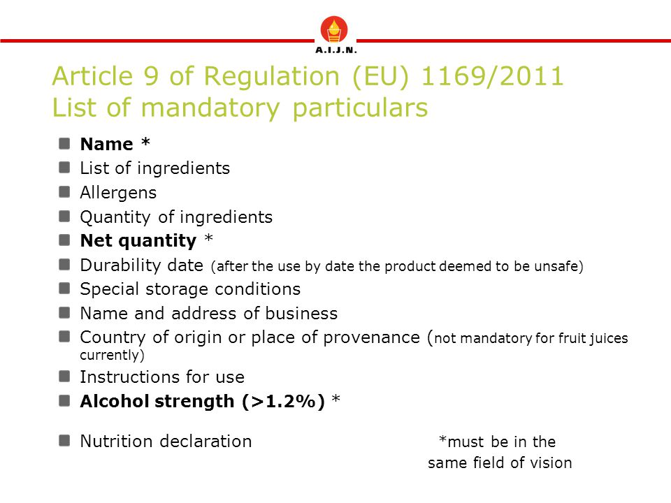 Article 9 of Regulation (EU) 1169/2011 List of mandatory particulars