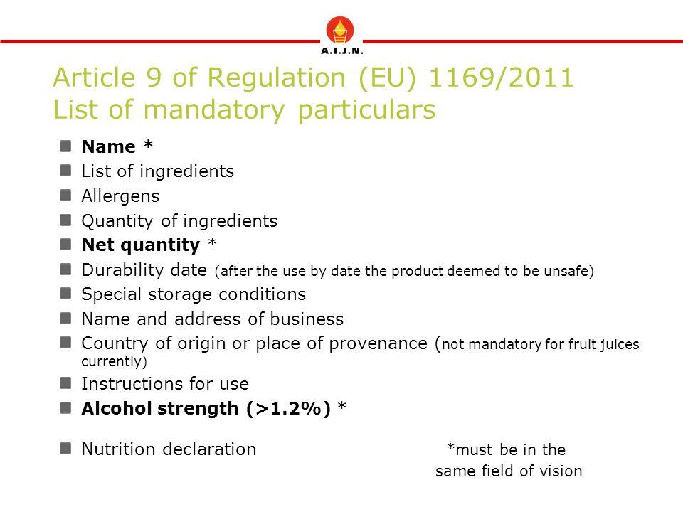 Article 9 of Regulation (EU) 1169/2011 List of mandatory particulars