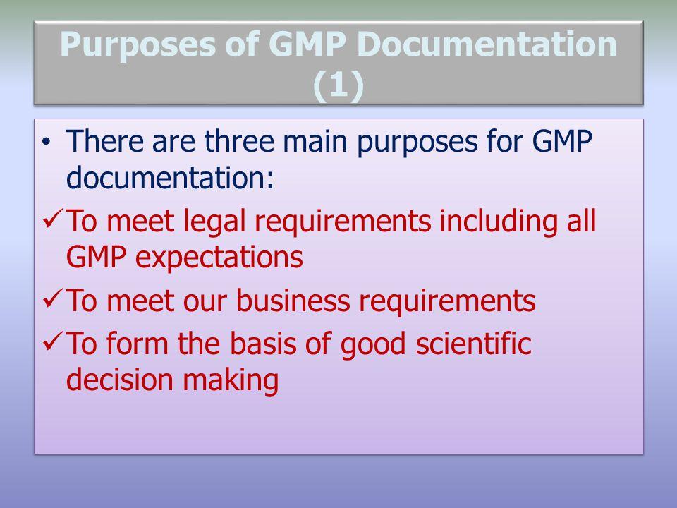 Purposes of GMP Documentation (1)