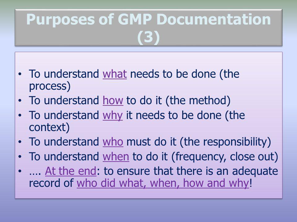 Purposes of GMP Documentation (3)