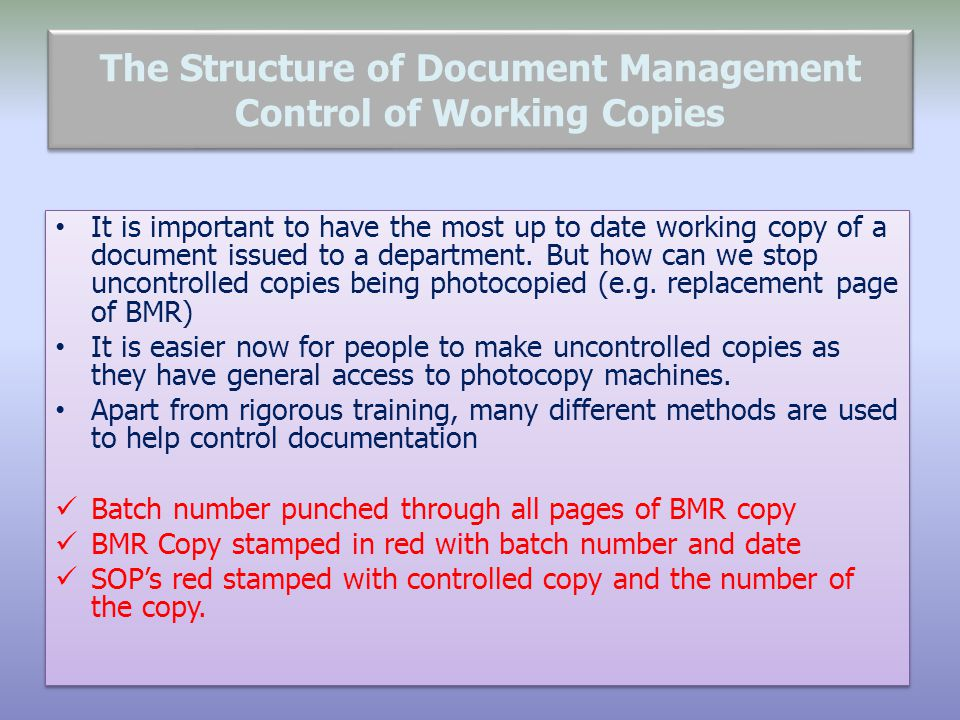 The Structure of Document Management Control of Working Copies
