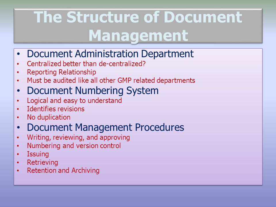 The Structure of Document Management