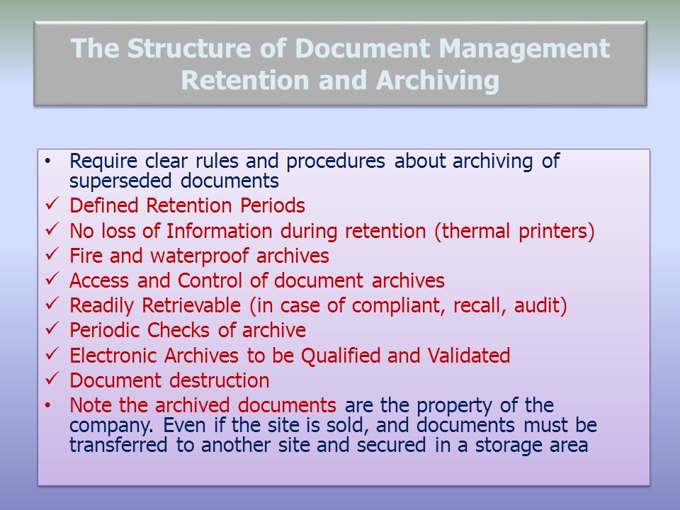 The Structure of Document Management Retention and Archiving
