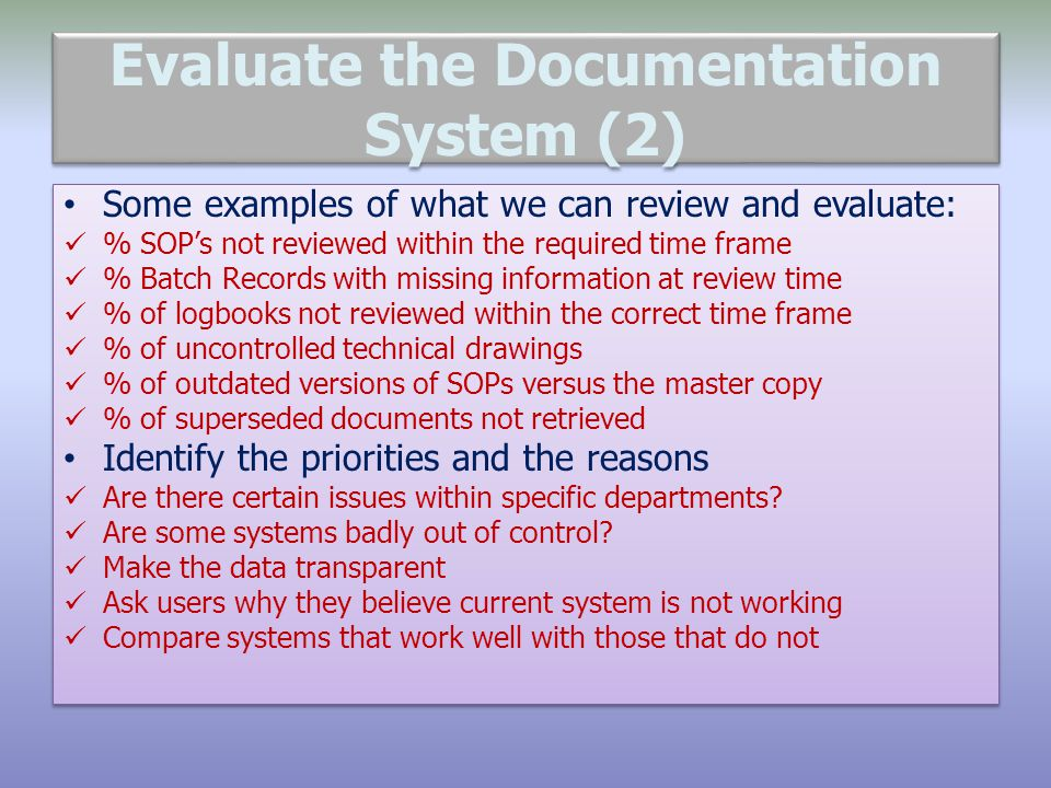 Evaluate the Documentation System (2)