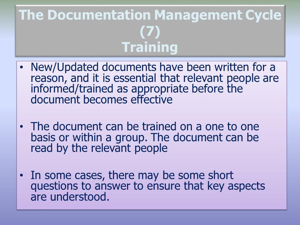 The Documentation Management Cycle (7) Training